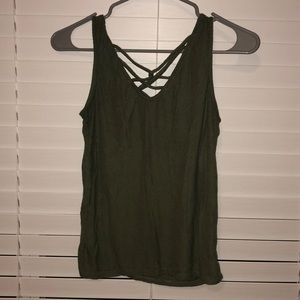 laced, navy green tank top